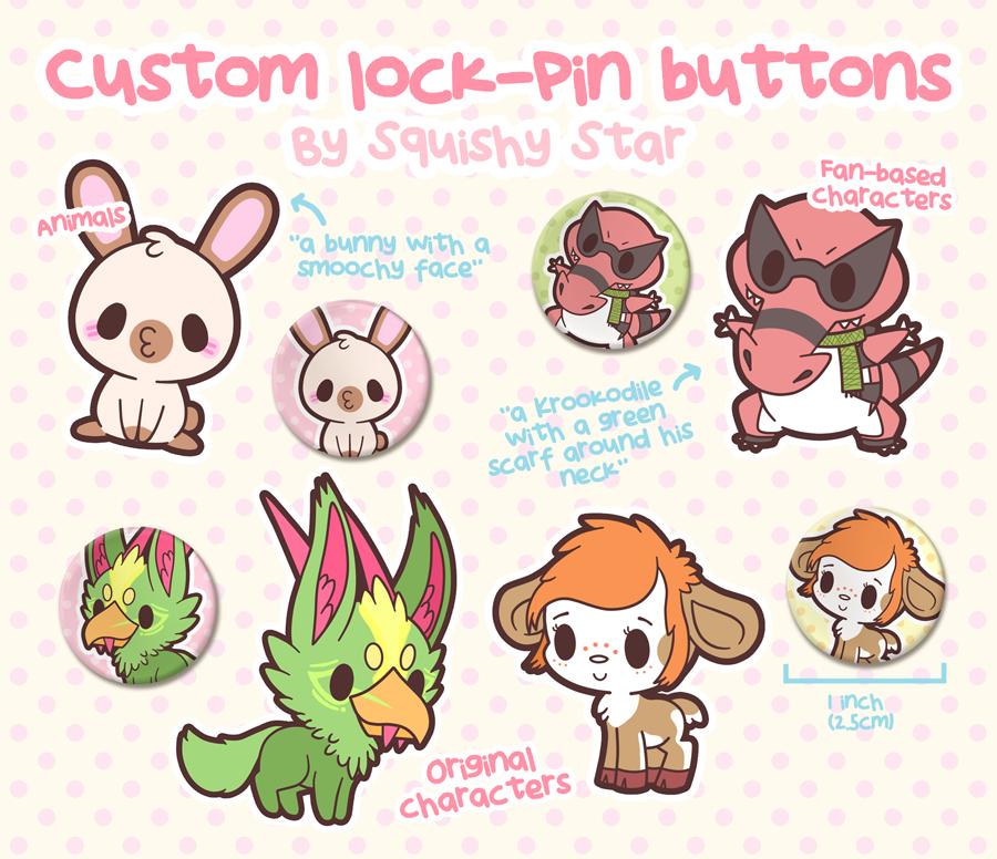 Custom lock-pin buttons! by x-SquishyStar-x