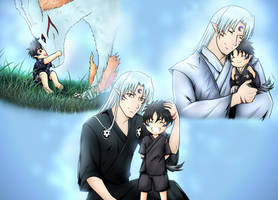 Sesshomaru and Son by RivaAnime