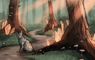 Forest Cat Concept Sketch by owlmaddie