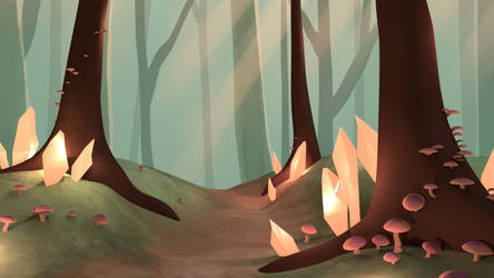 3D Crystal Forest Render by owlmaddie