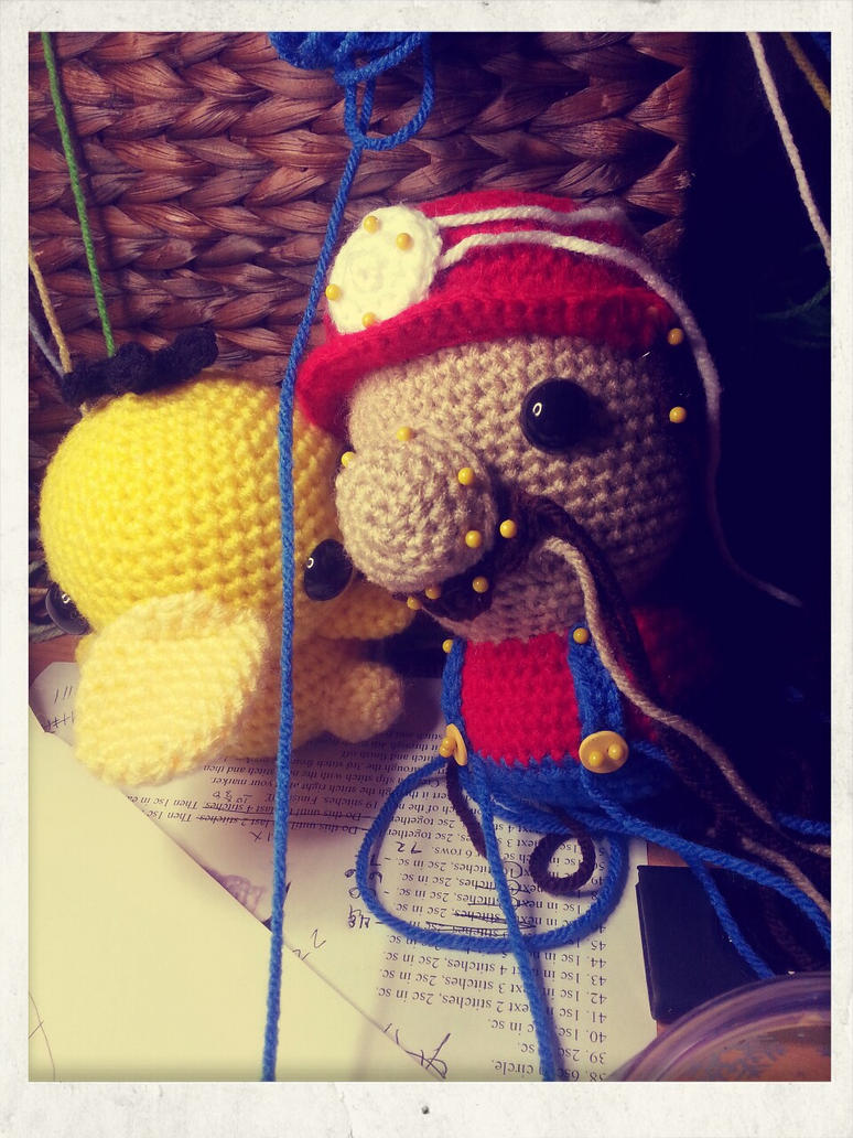 WIP Mario by Heartstringcrochet