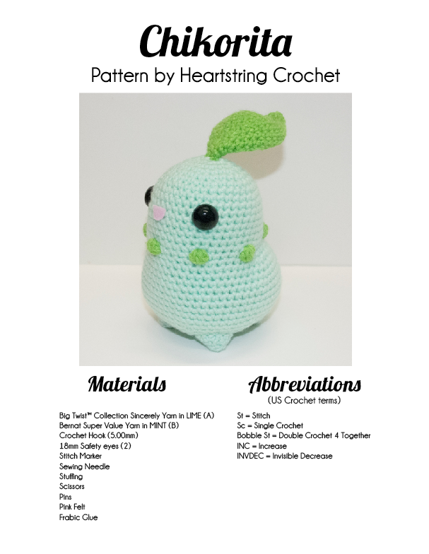 Chikorita Pattern by Heartstringcrochet on DeviantArt
