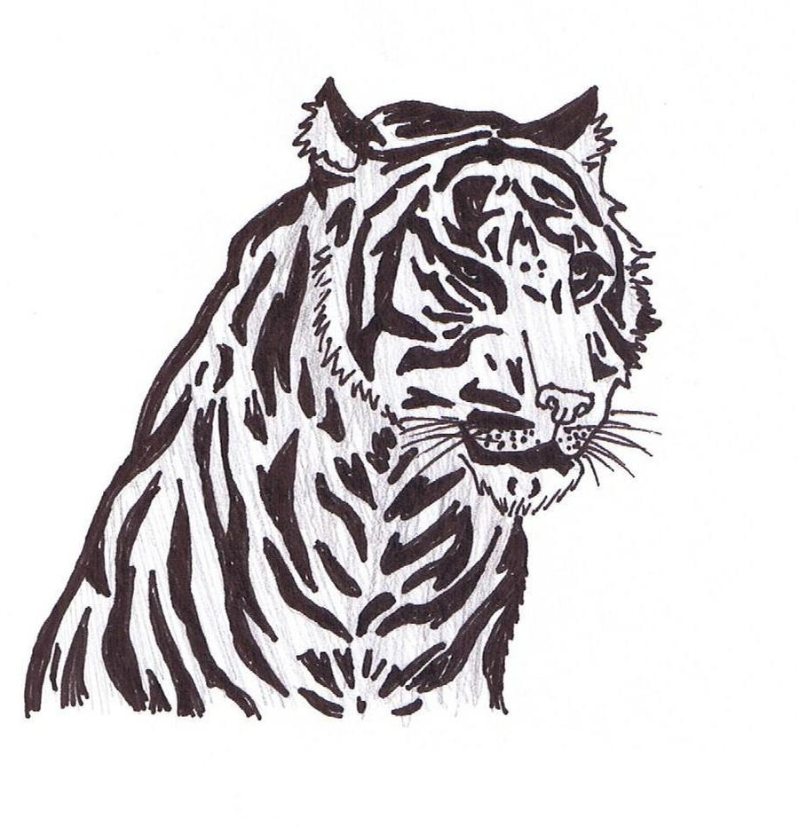 Killer Tiger - black and white by 4Icefire4 on DeviantArt