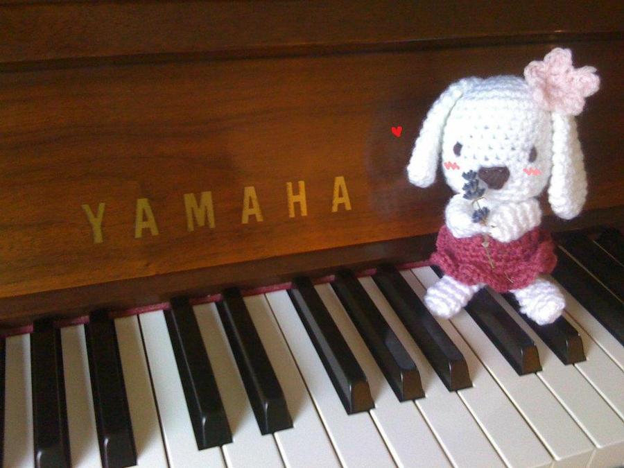 Rabbit and Piano by DumbDumbGoldfishie