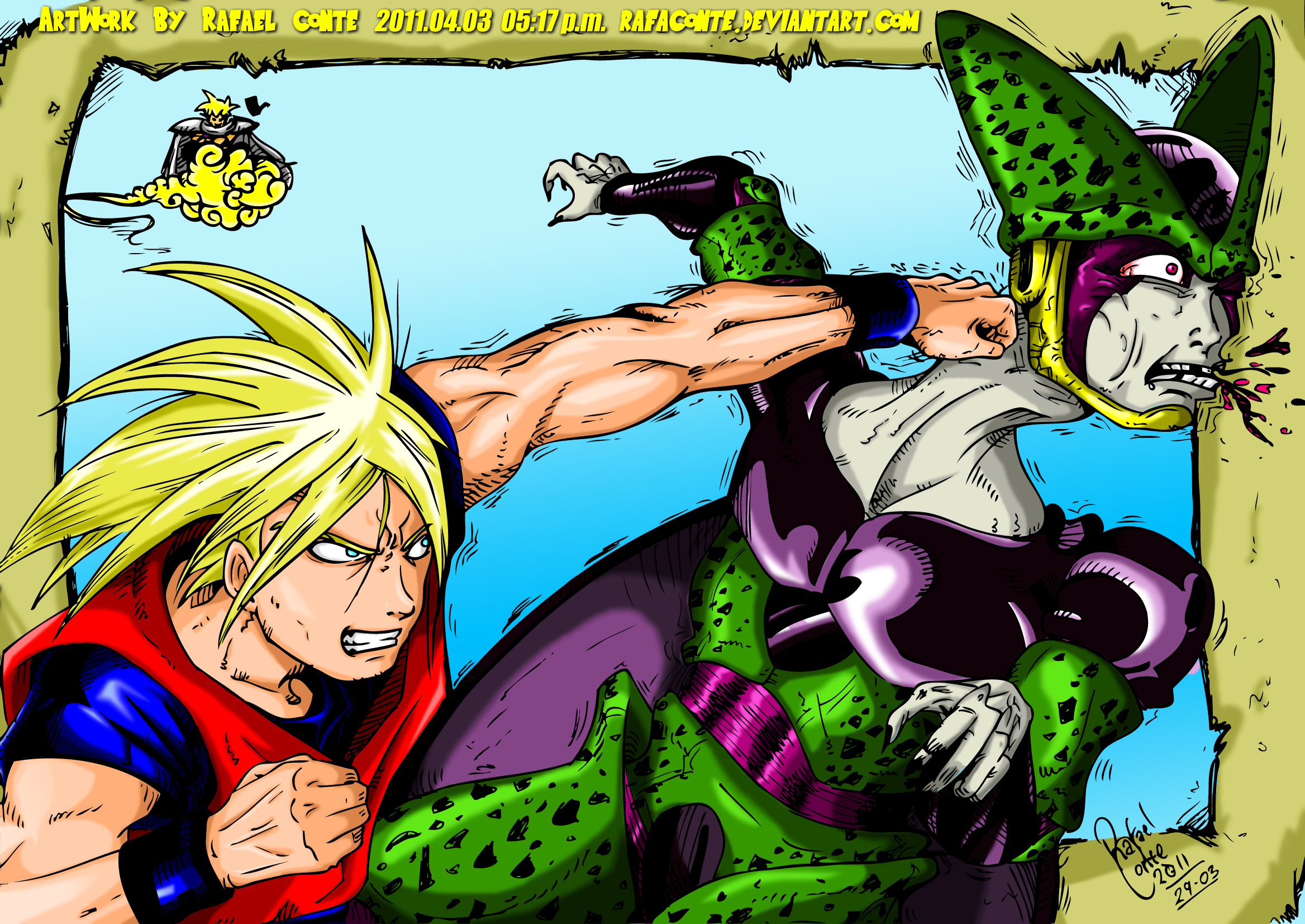Goku versus Cell -Dragon BallZ by RafaConte