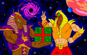 Holiday Anubis and Horus by GalaxyZento
