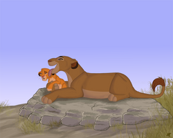Sarabi and Simba by DRGNFL