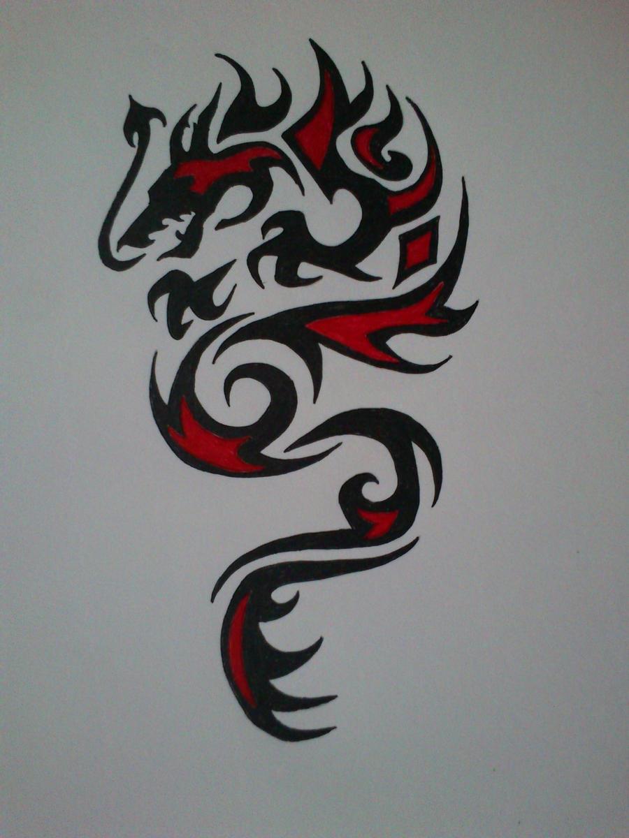 tribal dragon tattoo 1 by devildarkhead on deviantart. Black Bedroom Furniture Sets. Home Design Ideas