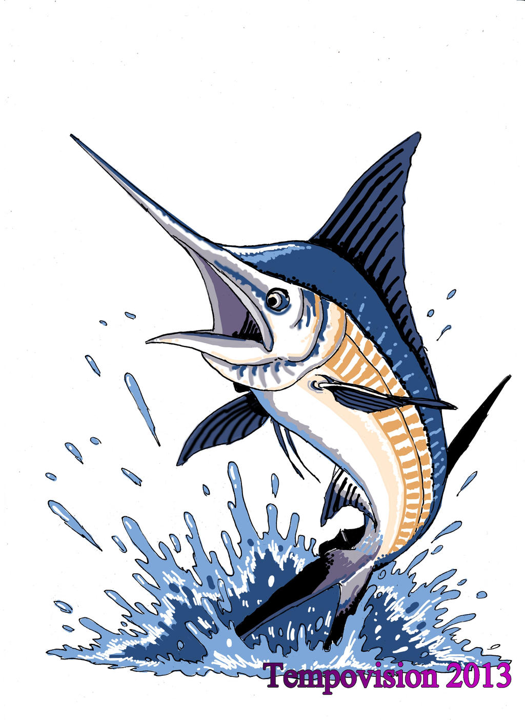 Uncategorized Swordfish Drawing jumping blue marlin by tempovision on deviantart tempovision