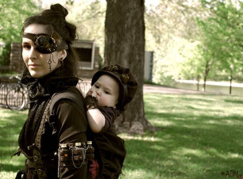 Steampunk mother and her child