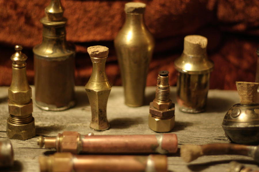 Steampunk vials detail by Sebbal