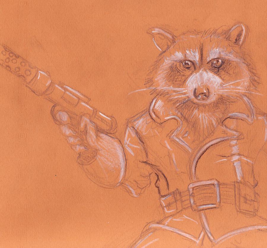 rocket raccoon sketch by munkierevolution