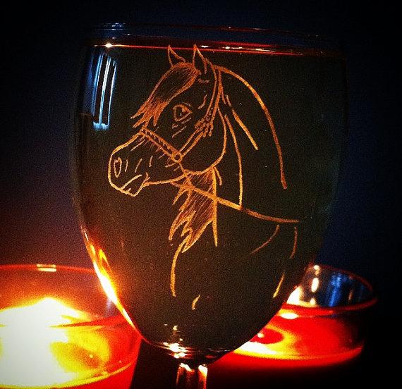 Arabian horse wine glass by KonKataCreations
