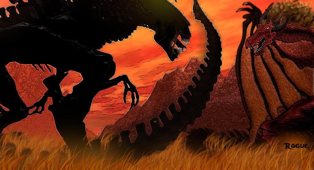 Queen versus Dragon by RoguePL