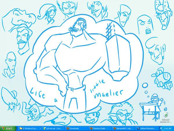 My doodly desktop by DemonSabin