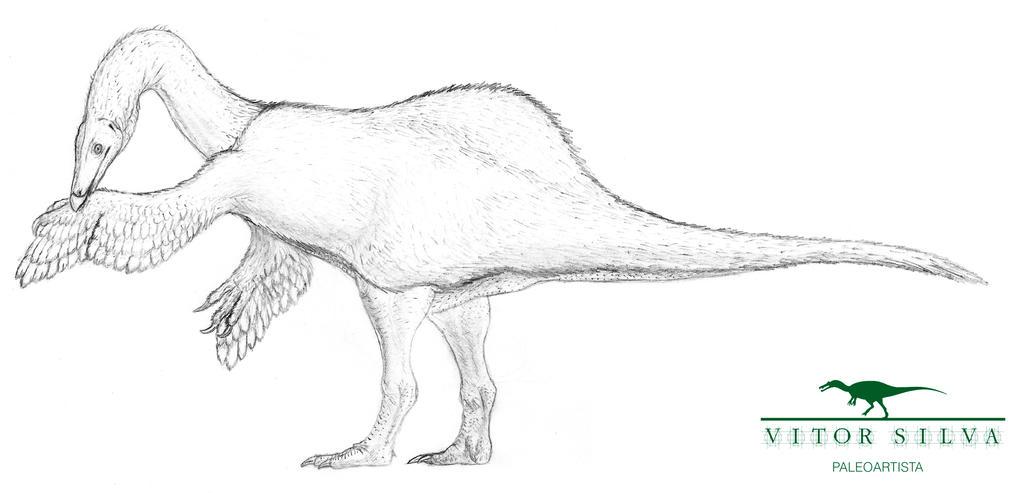 Sketching the new Deinocheirus by Vitor-Silva