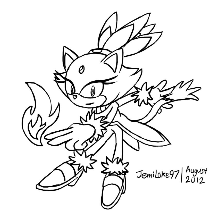 Collab blaze the cat lineart by jemidove on deviantart for Blaze the cat coloring pages