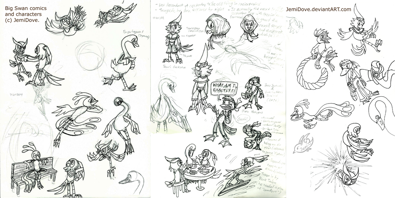 [OC] Big Swan doodle compilation 120315 by JemiDove