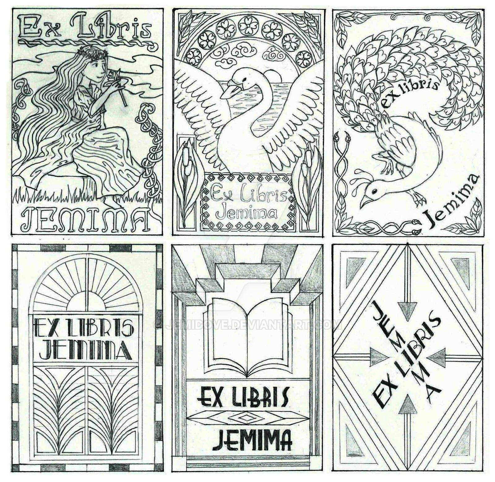 Art Nouveau and Art Deco bookplate sketches by JemiDove on DeviantArt
