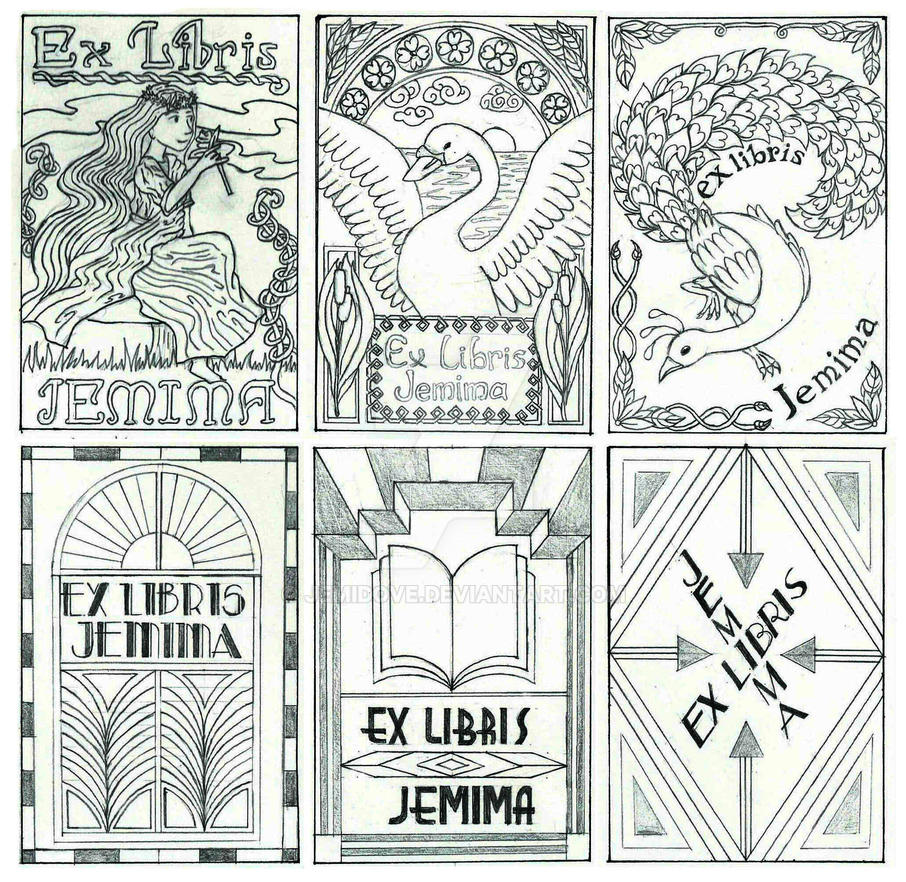 Art Nouveau and Art Deco bookplate sketches by JemiDove