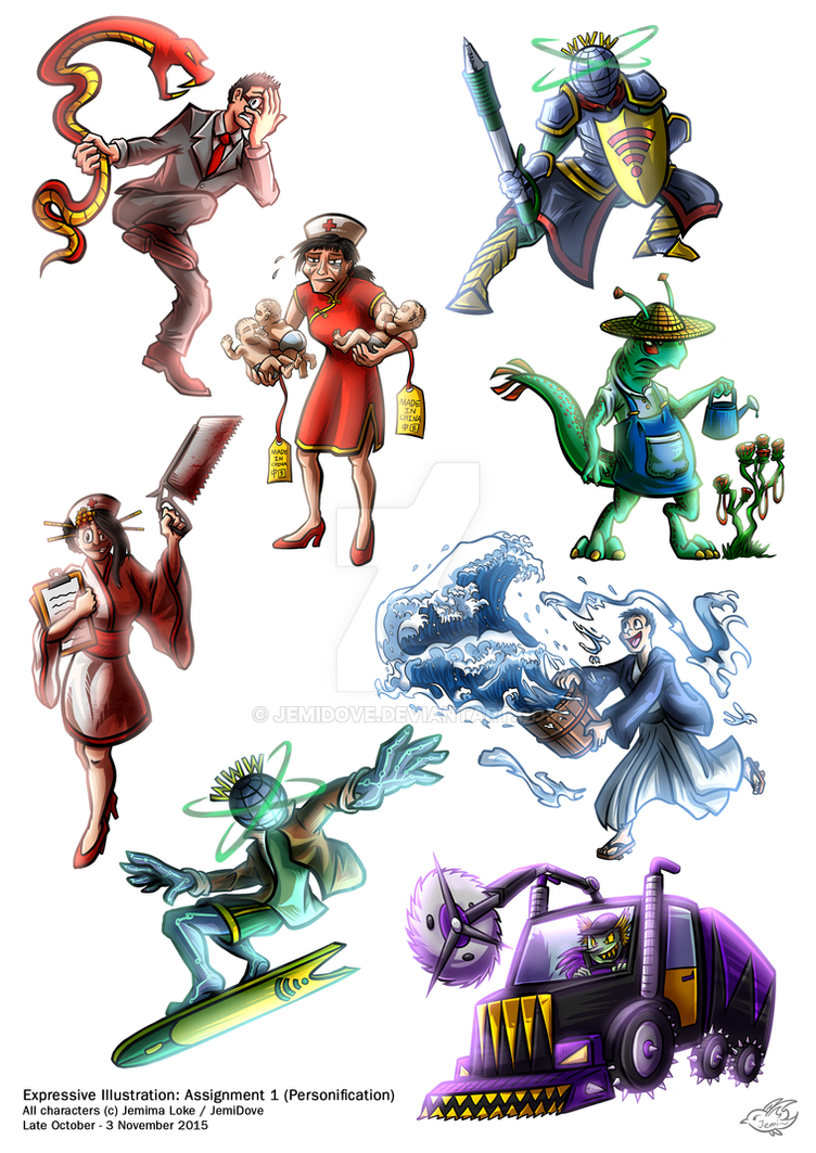 Personifications (School work) by JemiDove