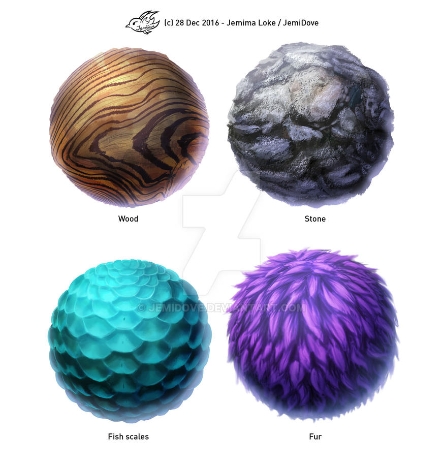 Texture spheres - 28Dec2016 by JemiDove on DeviantArt