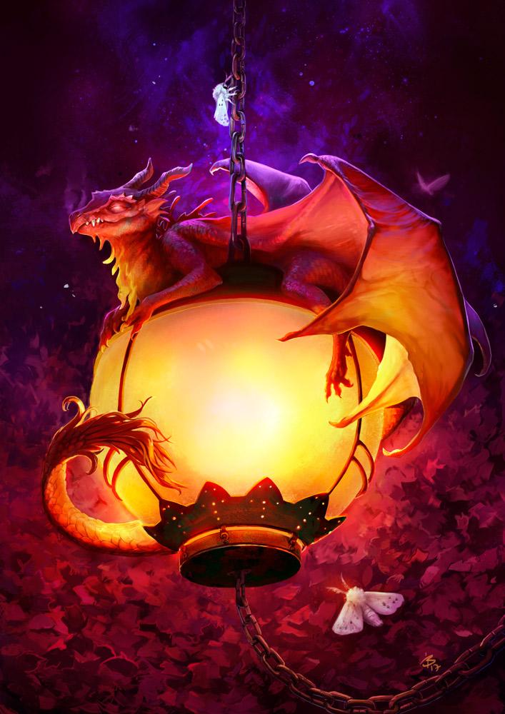 Dragon on a lamp by engelszorn