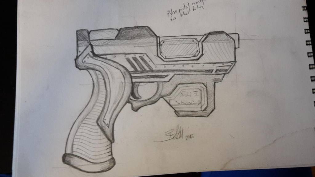 Concept sketch of pulse pistol by kaelay
