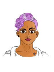 Purple-haired girl