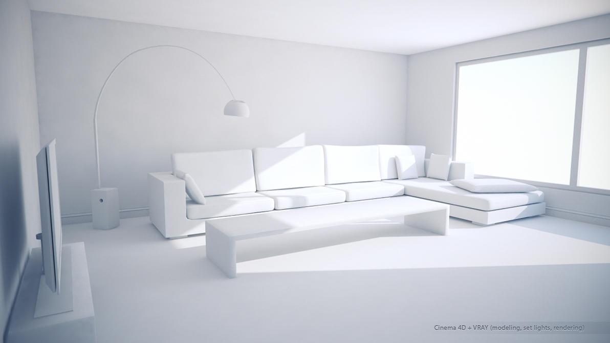 C4d Vray Living Room White by DarkCloud-DC on DeviantArt