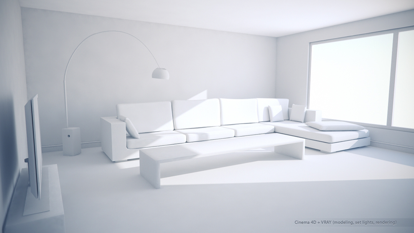 C4d Vray Living Room White By Darkcloud Dc On Deviantart