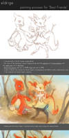 Painting Process for 'Best Friends'