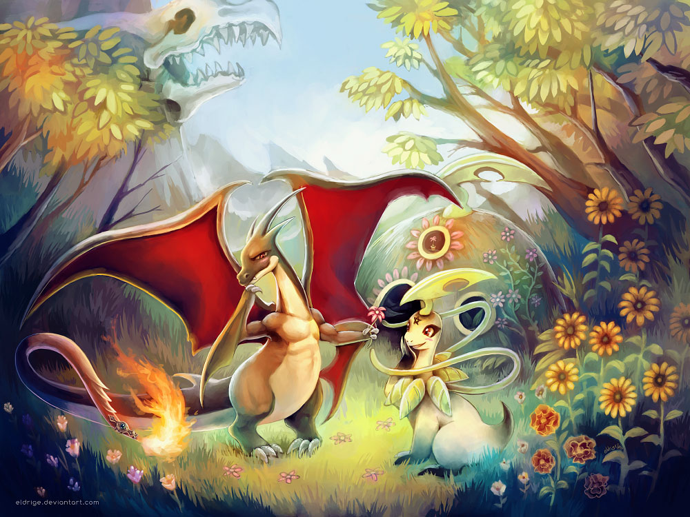 Shy Shiny Mega Charizard Y Wallpaper