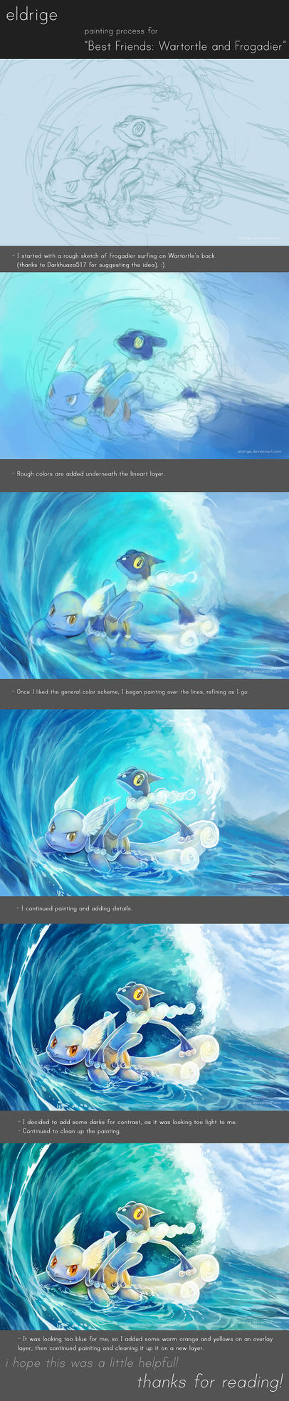 Painting Process for 'BF: Wartortle and Frogadier' by eldrige