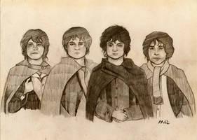 The four Hobbits by melissamyraf