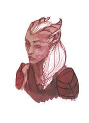 Female qunari sketch by melissamyraf