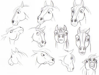 really old ugly horse faces by pookyhorse