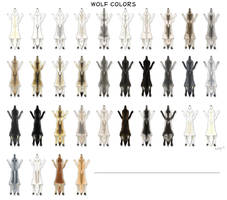 Wolf pelt colors by pookyhorse
