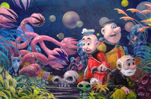 Kajtek and Koko in space painting