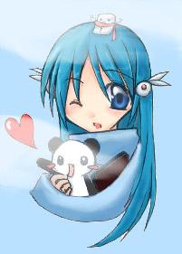 anime girl with cute panda by Cheripop1