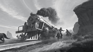 Train heist in the West by wavenwater