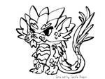 Hedgehog Dragon Black and White Free2Use