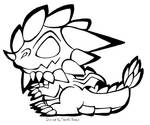 Smol Spiky Headed Dragon Black and White Free2Use