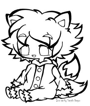 2 Tailed Fox Boy Black and White Free2Use