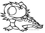 Baby Lindwyrm Black and White Free2Use