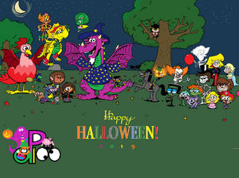 Happy Halloween from Barney, Dora, Lincoln, and Fr by PurpleDino100