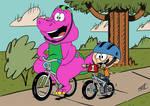 Barney And Lincoln Biking Together