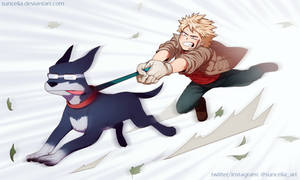 BNHA Kacchan walking the Iida dog