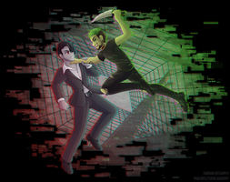 [+Speedpaint] Darkiplier VS Antisepticeye by padfootlet