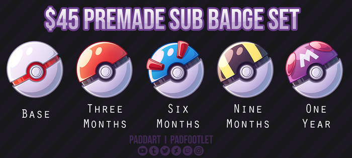 Premade Pokemon Sub Badge Set